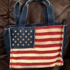 American Flag Denim Mini Tote Bag